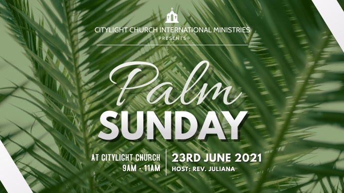 palm sunday church flyer Digitale display (16:9) template
