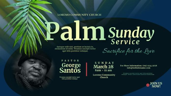 Palm Sunday Service Twitter Post template