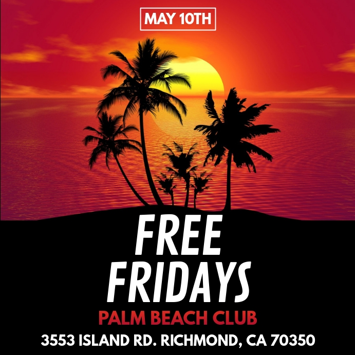 PALM TREE TROPICAL BEACH PARTY FLYER TEMPLATE Instagram Post