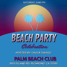 PALM TREE TROPICAL BEACH PARTY FLYER TEMPLATE