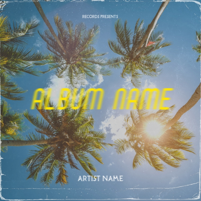 Palm Trees CD Album Cover Art Template