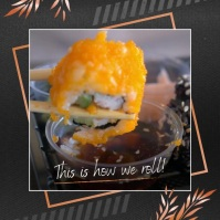 pan asian cuisine ads, sushi bar flyer templa