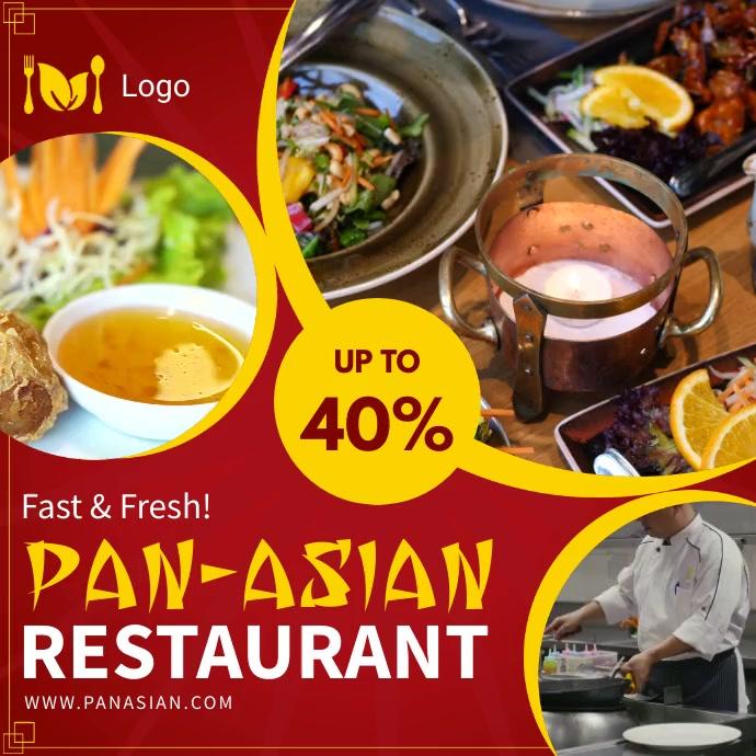 Pan-Asian cuisine restaurant ad for social me Instagram Post template