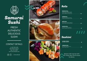 Pan Asian Sushi Restaurant Diner Leaflet A5 template
