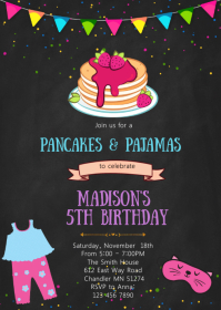Pancake and pajamas birthday invitation