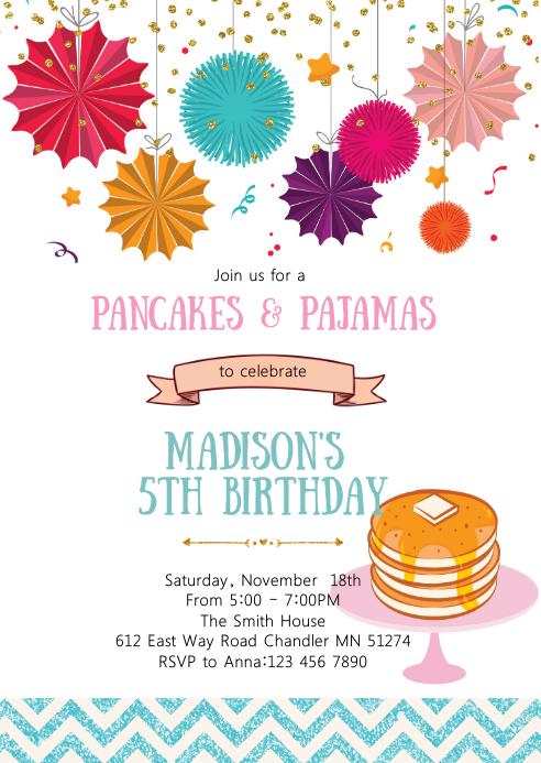 Pancake and pajamas birthday invitation A6 template