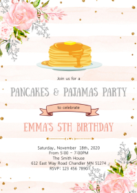 Pancake and pajamas birthday party invitation
