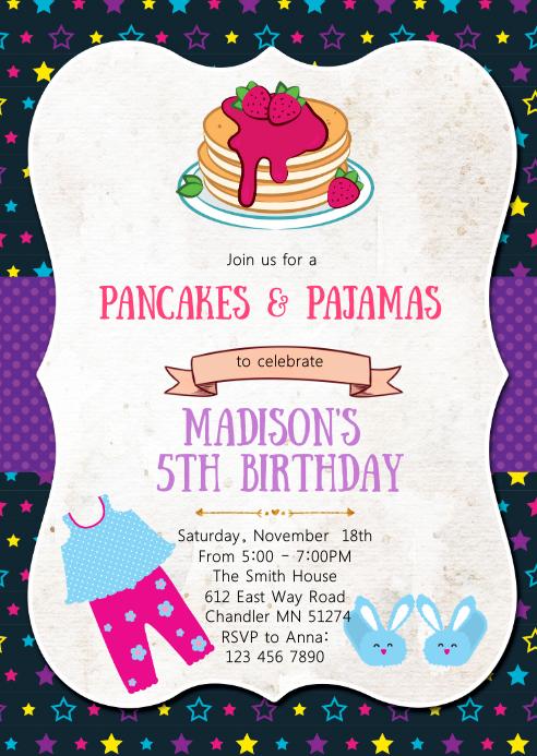 Pancake and pajamas birthday party invitation