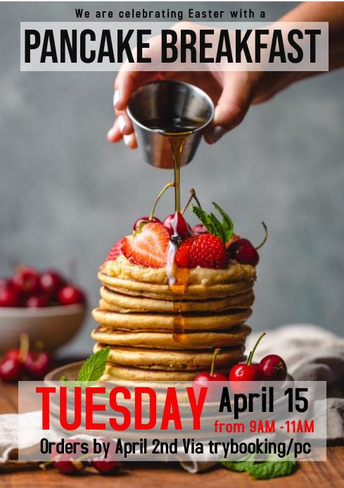Pancake breakfast flyer A4 template
