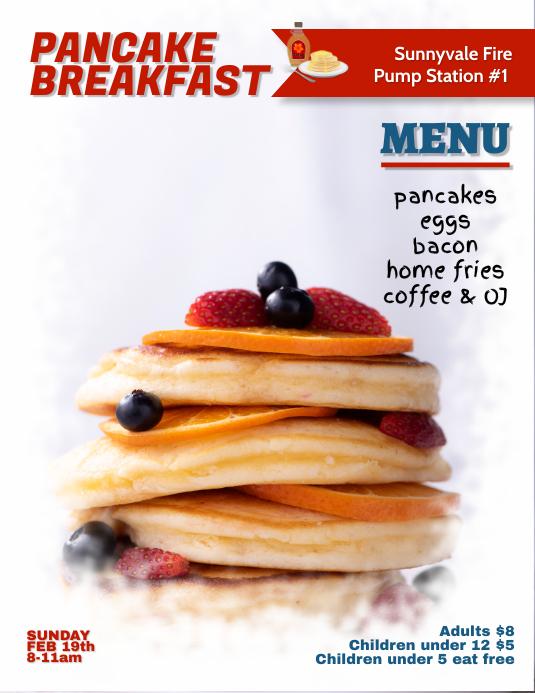 pancake breakfast fundraiser flyer template postermywall. Black Bedroom Furniture Sets. Home Design Ideas