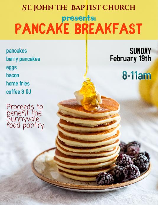 copy of pancake breakfast fundraiser flyer postermywall. Black Bedroom Furniture Sets. Home Design Ideas