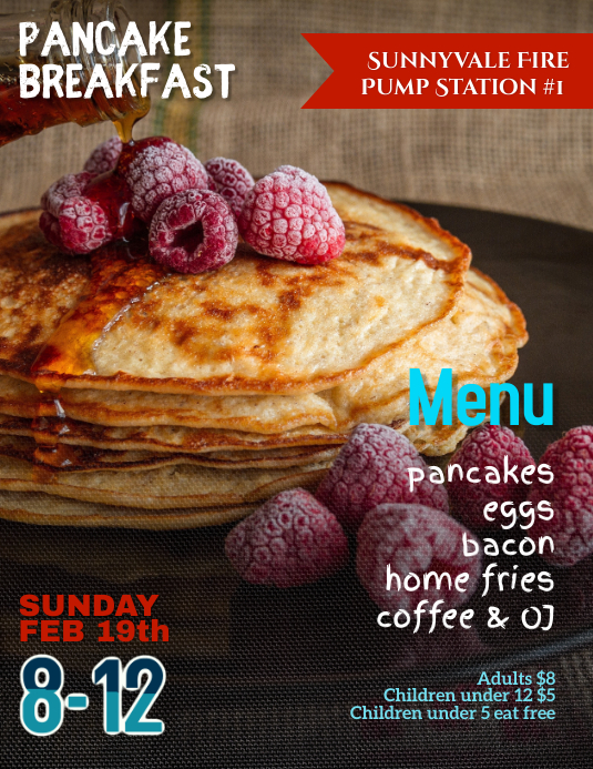 Pancake Breakfast Fundraiser Event Flyer Template Рекламная листовка (US Letter)