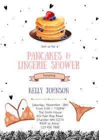 Pancake lingerie shower card invitation