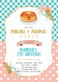 Pancakes pajamas birthday party invitation