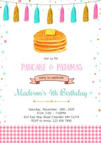 Pancakes pajamas birthday party invitation A6 template