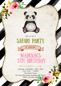 Panda birthday party invitation