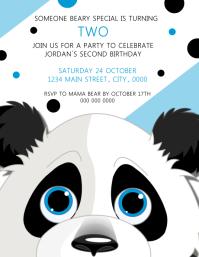 Panda Boy Birthday Invitation