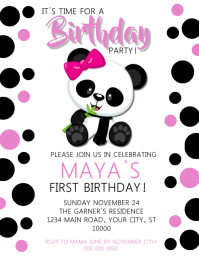 Panda Girl Birthday Invitation