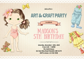 Paper doll tea birthday invitation