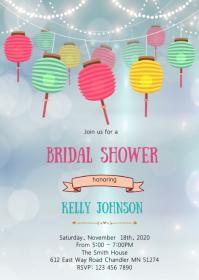 Paper lantern party invitation A6 template