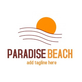 paradise beach sun icon logo template