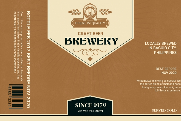 Parchment Brown Brewery Label Etiket template