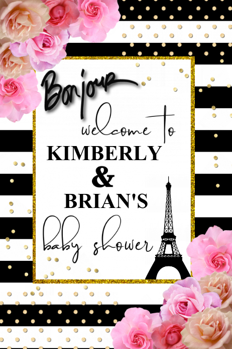 Paris Baby Shower Welcome Sign Template Postermywall