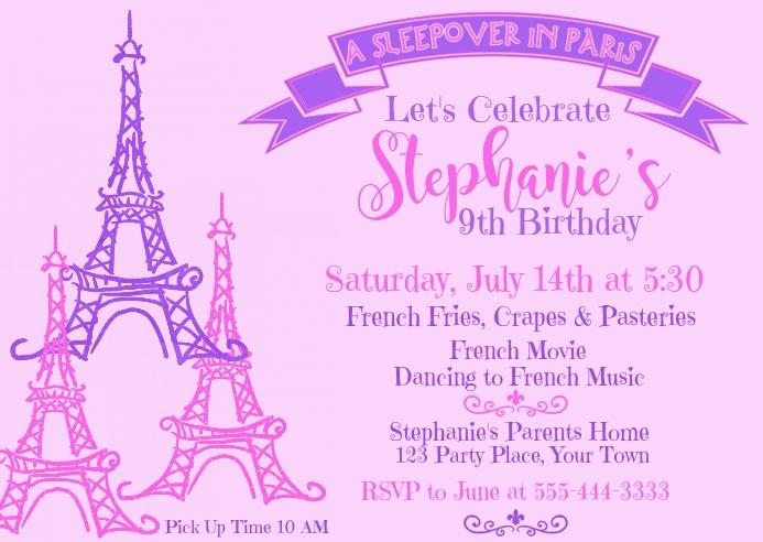 Paris Eiffel Tower Pink Birthday Invitation Template ...
