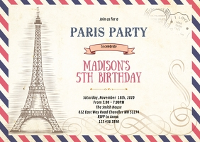 Paris letter birthday invitation