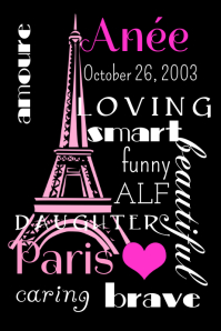 Paris Name Poster template
