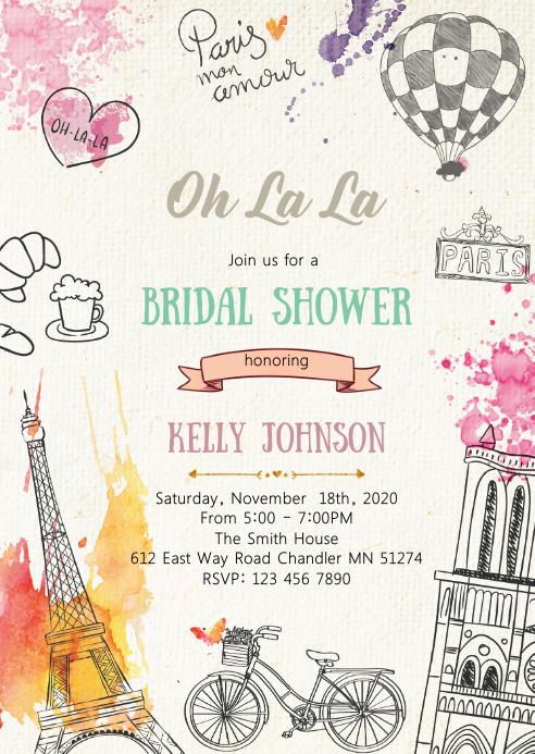 Paris shower party invitation