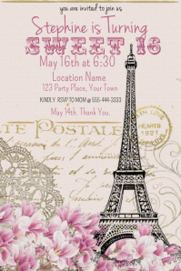 Paris Theme Sweet 16 Birthday Poster template