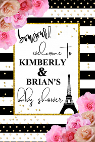 Paris Themed Baby Shower Welcome Sign