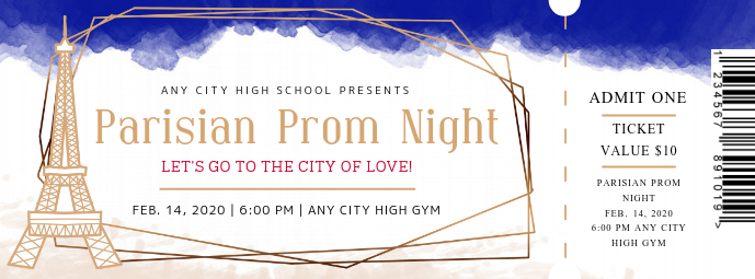 Paris Themed Prom Night Ticket