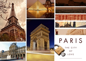 Paris Travel Photo Collage Postcard template