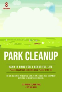 Park cleanup video event ad template Affiche