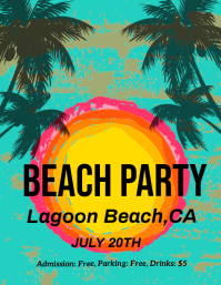 party, beach party Volantino (US Letter) template