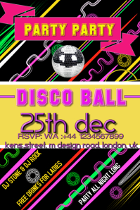 Party, Birthday, event, colourful flyer poster