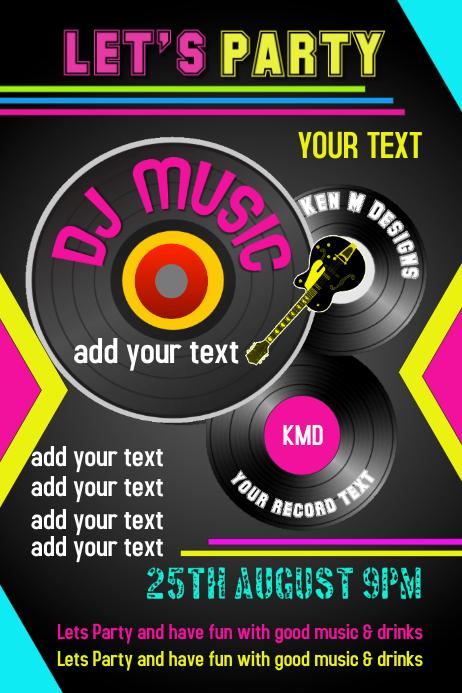 Dj Musik Geburtstag Flyer Posterbroschure Vorlage Postermywall
