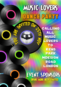Party, records, Dance, Birthday, Event, Flyer, Poster