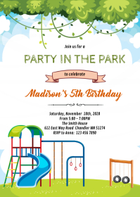 Party at the park party Invitation A6 template