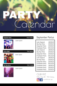 Party Calendar Club Bar Lounge next Events Poster template