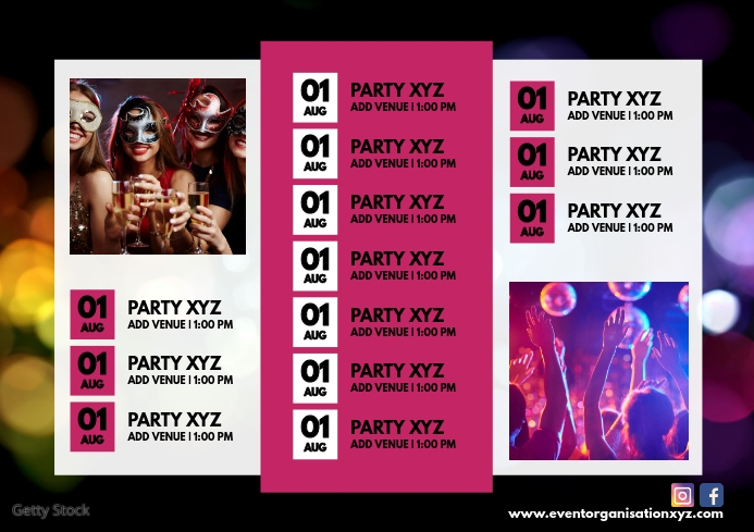 Party Calendar Events Monthly Upcoming Ad A4 template