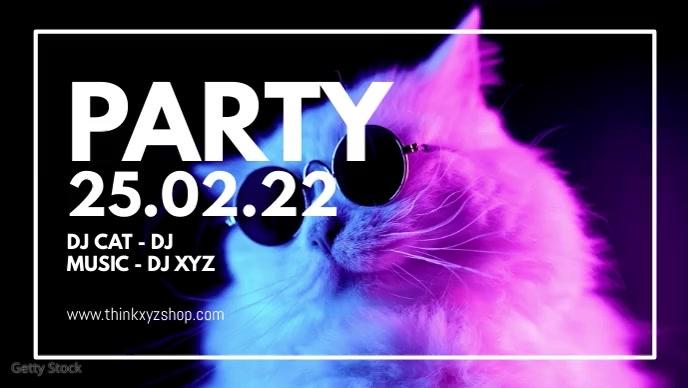 Party Cat Sunglasses Cool Fun Event Disco Ad