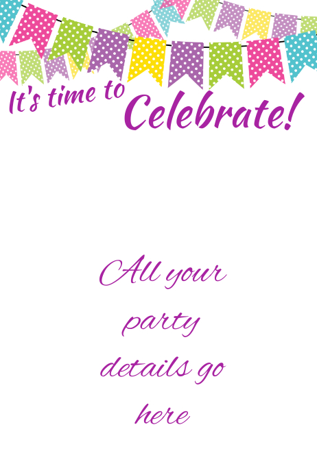 Party Celebration Bright Bunting Flag Invitation Event