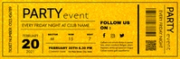 party event ticket template design gold Bannier 2' × 6'