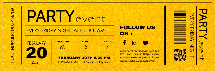 party event ticket template design gold Spanduk 2' × 6'