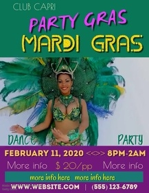 Party Gras Mardi Gras Video Flyer