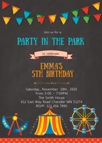 Party in the park birthday invitation