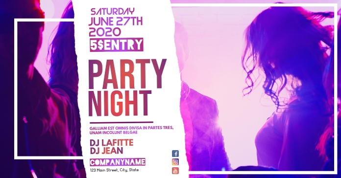 party night advertisement facebook ad Facebook-Anzeige template